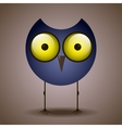 funny cute bird owl big eyes looks vector image