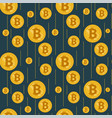 golden rain of bitcoins on a dark background vector image