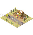isometric low poly farmers food store vector image