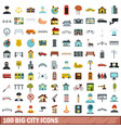 100 big city icons set flat style vector image