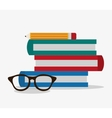 Books glasses and pencil design vector image