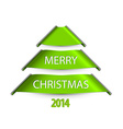 Simple christmas tree made from paper stripes vector image