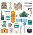 Camping equipment icons set vector image