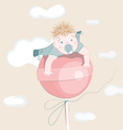 sweet little boy on the lollipop vector image vector image