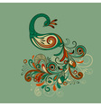 stylized peacock with detailed tail vector image vector image