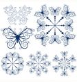 Collection blue snowflakes vector image