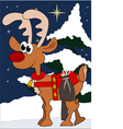 cute little reindeer with gifts in winter vector image