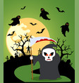 halloween background with scytheman and full moon vector image