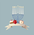 happy hanukkah greeting card invitation with hand vector image
