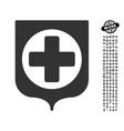 medical shield icon with job bonus vector image
