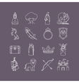 Fairy tale thin line icon set vector image