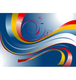 Red and yellow curved stripes on a blue background vector image