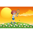 A boy playing tennis at the hill vector image vector image