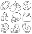 various sport equipment doodle style vector image