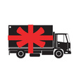 Delivery Truck Side Gift Ribbon vector image