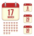 March calendar icons vector image