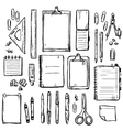 set of stationery drawings vector image