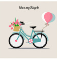 Wedding invitation card with bicycle and a basket vector image