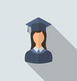 Flat icon of female graduate in graduation hat vector image