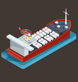 red barge with barrel for transportation of oil vector image