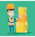 Warehouse worker scanning barcode on box vector image