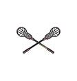 Lacrosse Stick Woodcut vector image