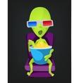 Cartoon 3D Cinema Alien vector image