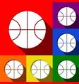 basketball ball sign set of vector image vector image