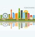 yokohama skyline with color buildings blue sky vector image