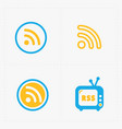 rss sign icons rss feed symbols vector image