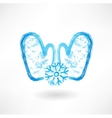 two mittens grunge icon vector image vector image