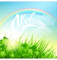 Spring landscape with clover and rainbow vector image
