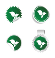 sticker green color with white leaf icon vector image