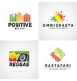 Set of positive africa ephiopia flag logo design vector image