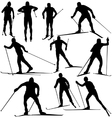 Cross country skier silhouettes vector image