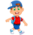 funny little boy cartoon going to picnic vector image