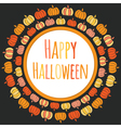 Happy Halloween round frame with colorful pumpkins vector image