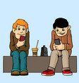young people isolated sit on the bench attention vector image