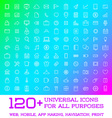 120 Universal Icons Set For All Purposes Web vector image