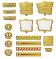 cartoon wood elements for ui game vector image