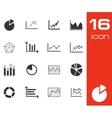 black diagram icons set on white background vector image