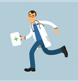 male doctor paramedic character running with first vector image