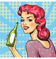woman with wine in pop art vector image
