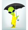 Cartoon Umbrella Raining Alien vector image