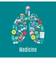 Medicine poster in shape of lungs organ vector image vector image