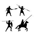 set of warriors silhouette on white background vector image