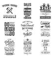 Set of vintage business motivation typographic vector image