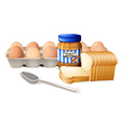 A bread with peanut butter and eggs vector image