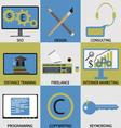 Icon set concept of remote work vector image