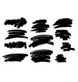 set of black brush stroke and texture grunge vector image